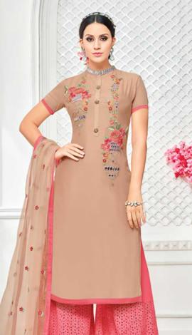 Light Brown Muslin Silk Salwar Kameez