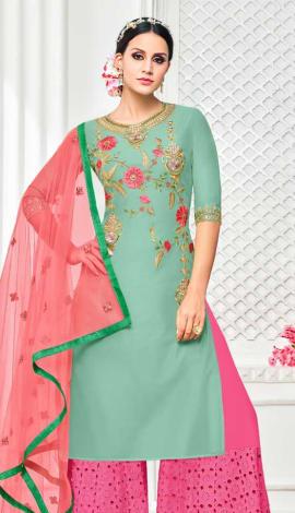 Green Muslin Silk Salwar Kameez