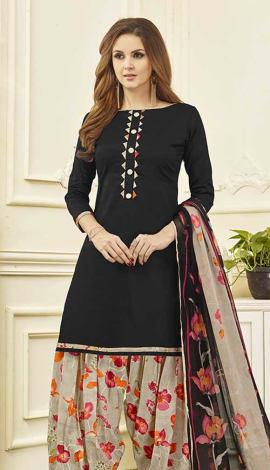Black Cotton Satin Salwar Kameez