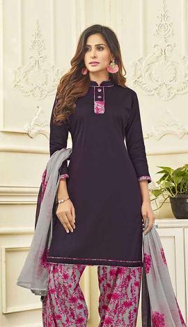 Purple Cotton Satin Salwar Kameez