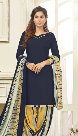 Navy Blue Cotton Satin Salwar Kameez