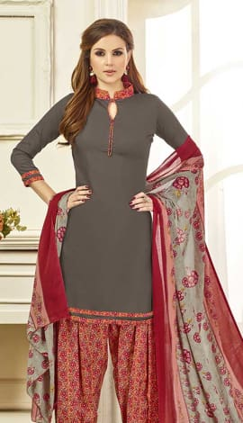 Old Burgundy Cotton Satin Salwar Kameez