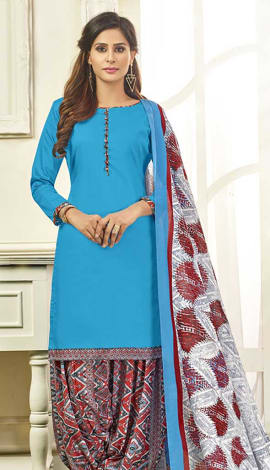 Blue Cotton Satin Salwar Kameez