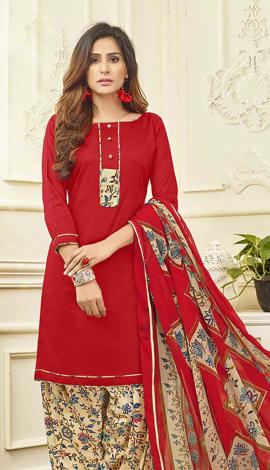 Red Cotton Satin Salwar Kameez
