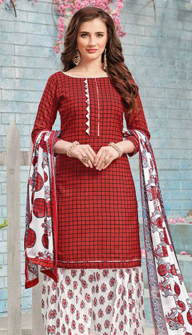 Maroon Cotton (Poly Cotton) Salwar Kameez