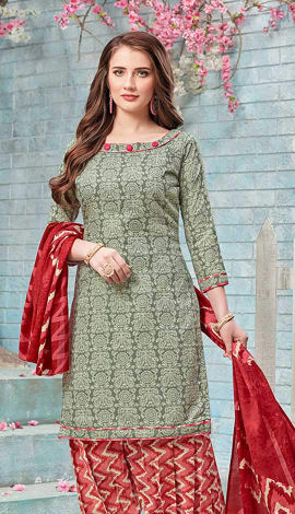 Grey, Beige Cotton (Poly Cotton) Salwar Kameez