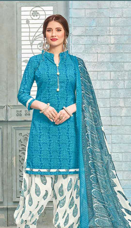 Blue Cotton (Poly Cotton) Salwar Kameez