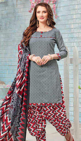 Grey Cotton (Poly Cotton) Salwar Kameez