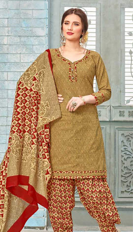 Yellow Cotton (Poly Cotton) Salwar Kameez