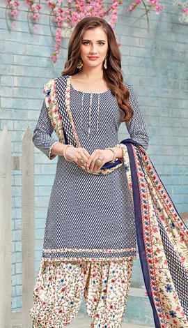 Blue, Off White Cotton (Poly Cotton) Salwar Kameez