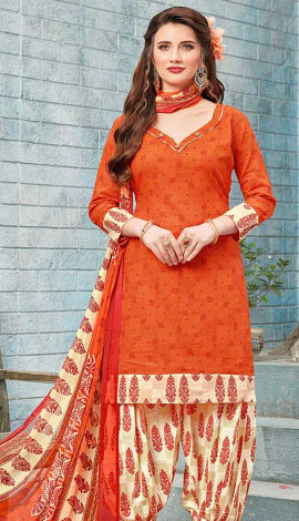 Orange Cotton (Poly Cotton) Salwar Kameez
