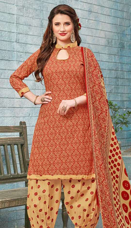 Red, Beige Cotton (Poly Cotton) Salwar Kameez