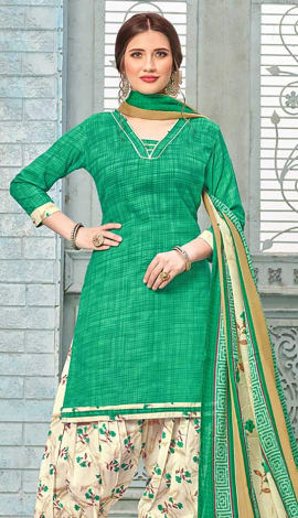 Green Cotton (Poly Cotton) Salwar Kameez