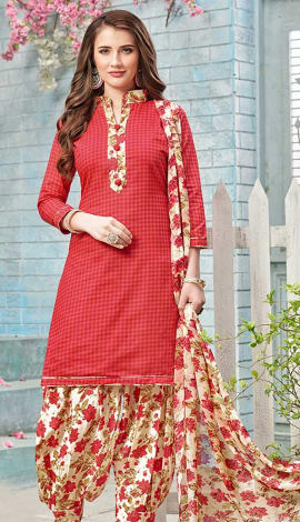 Red Cotton (Poly Cotton) Salwar Kameez