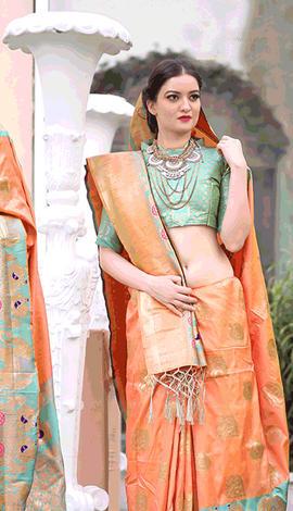 Peach Gadwal Silk Saree