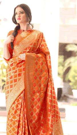 Orange Bandhni Silk Saree