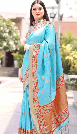 Sky Blue Chanderi Silk Saree