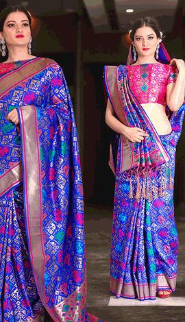 Blue Patola Silk Saree