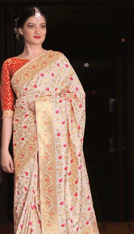 Beige Jamdani Silk Saree
