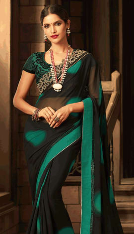 Black, Green Georgette Saree