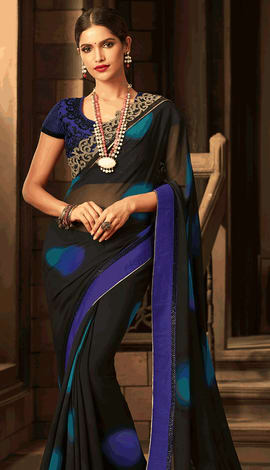 Black, Blue Georgette Saree