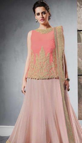 Pink Silk , Jacquard Lehenga