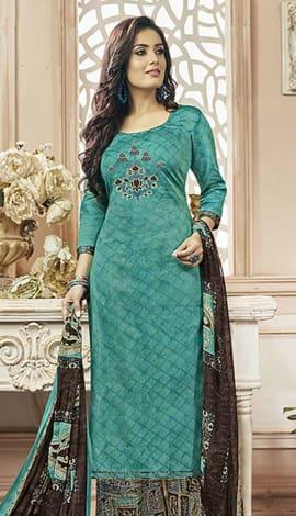 Turquoise Cotton Satin Salwar Kameez