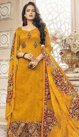 Yellow Cotton Satin Salwar Kameez