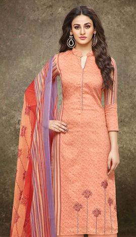 Multi Pure Cotton With Satin Print Salwar Kameez
