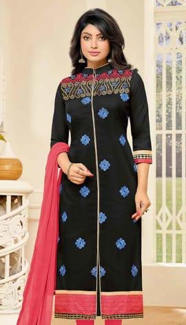 Black Camric Cotton Salwar Kameez