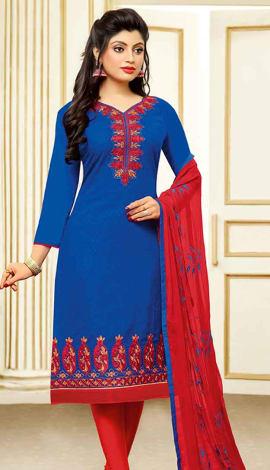 Royal Blue Jacquard Cotton Salwar Kameez