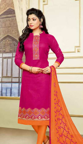 Pink Jacquard Cotton Salwar Kameez