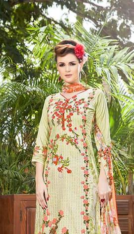 Light Yellow, Jacquard Cotton Salwar Kameez