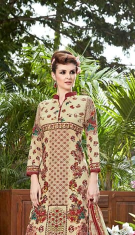 Beige & Maroon Jacquard Cotton Salwar Kameez