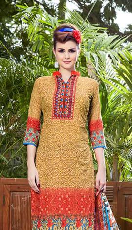 Brown Jacquard Cotton Salwar Kameez