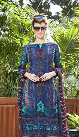 Blue Jacquard Cotton Salwar Kameez