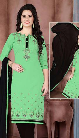 Green Cambric Cotton Salwar Kameez