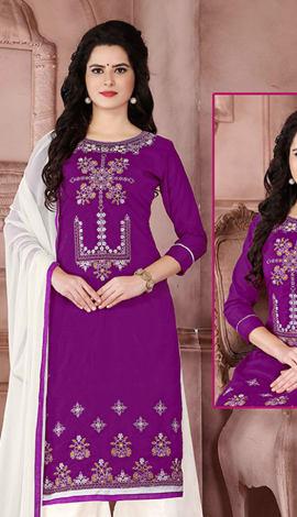 Purple, Cambric Cotton Salwar Kameez