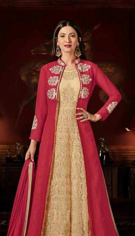 Cream & Pink Faux Georgett Salwar Kameez
