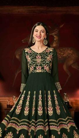 Green Faux Georgett Salwar Kameez