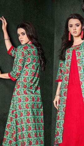 Green & Red Rayon Kurti