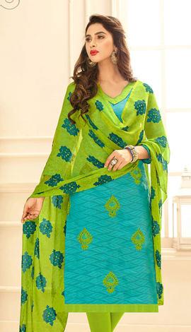 Turquoise Jacquard Salwar Kameez