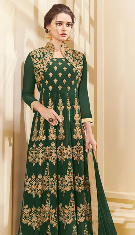 Green Apple Georgette Salwar Kameez
