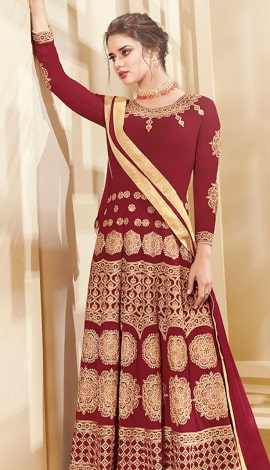 Maroon Apple Georgette Salwar Kameez