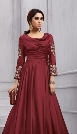Maroon Fobi Silk Gowns