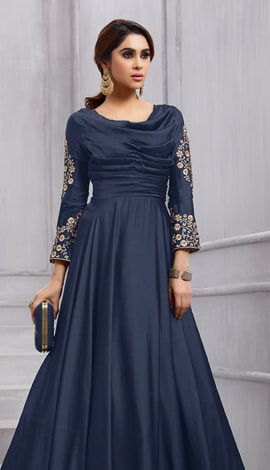 Navy Blue Fobi Silk Gowns