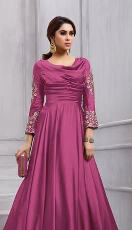 Fuchsia Pink Fobi Silk Gowns