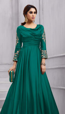Green Fobi Silk Gowns