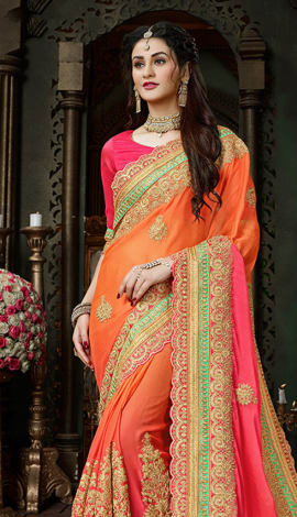 Shaded Orange & Pink Moss Chiffon Saree