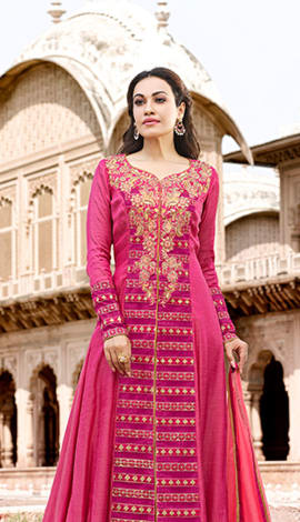 Pink Poly Cotton Satin Salwar Kameez